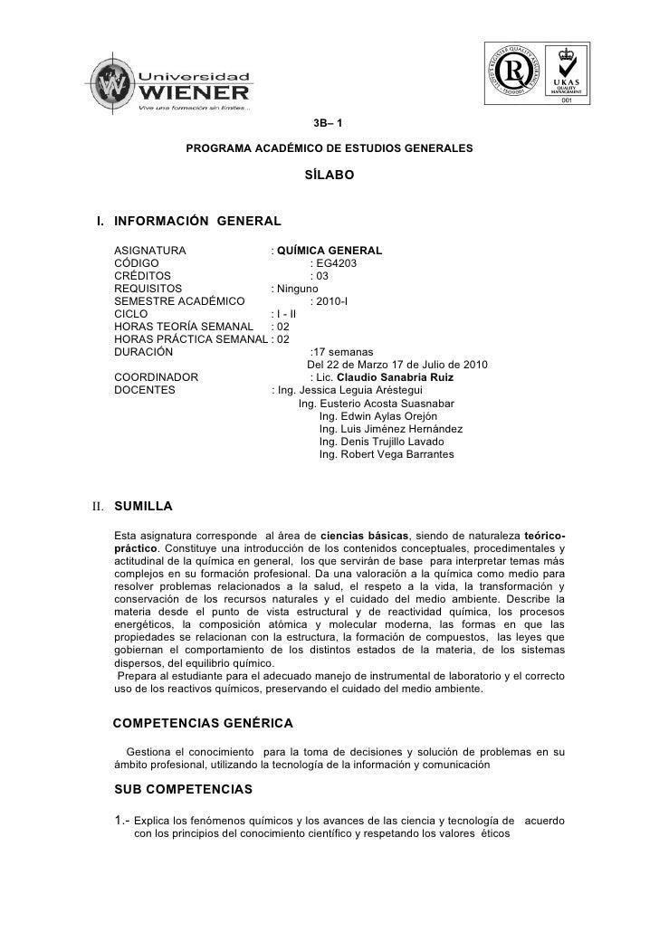 3B– 1                   PROGRAMA ACADÉMICO DE ESTUDIOS GENERALES                                            SÍLABO   I. IN...