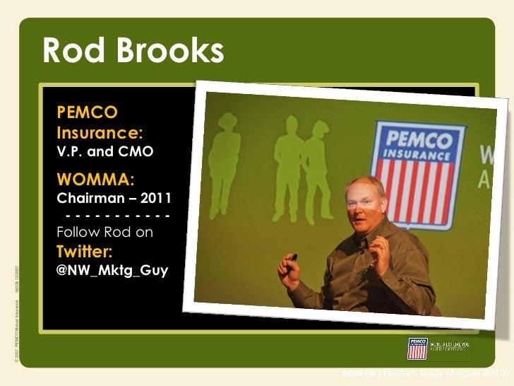 Rod BrooksPEMCOInsurance:V.P. and CMOWOMMA:Chairman – 2011 -----------Follow Rod onTwitter:@NW_Mktg_Guy                  s...