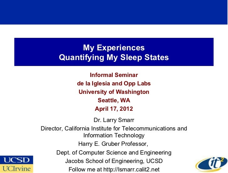 My Experiences       Quantifying My Sleep States                   Informal Seminar              de la Iglesia and Opp Lab...