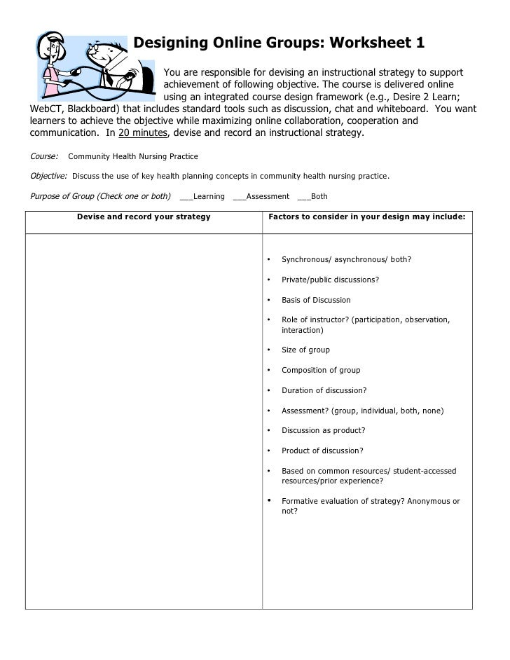 Designing Online Groups: Worksheet 1                                You are responsible for devising an instructional stra...