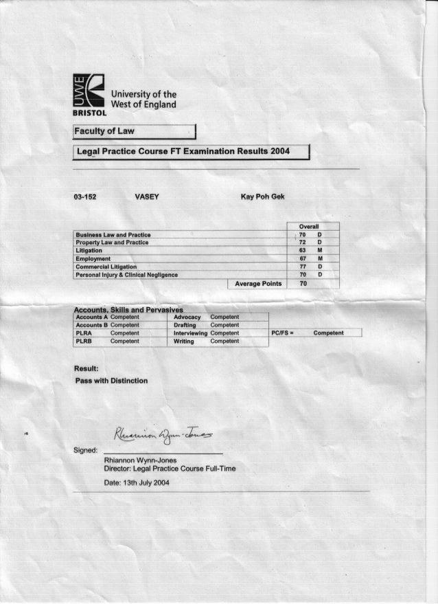 Bristol Institute of Legal Practice - Results 2004
