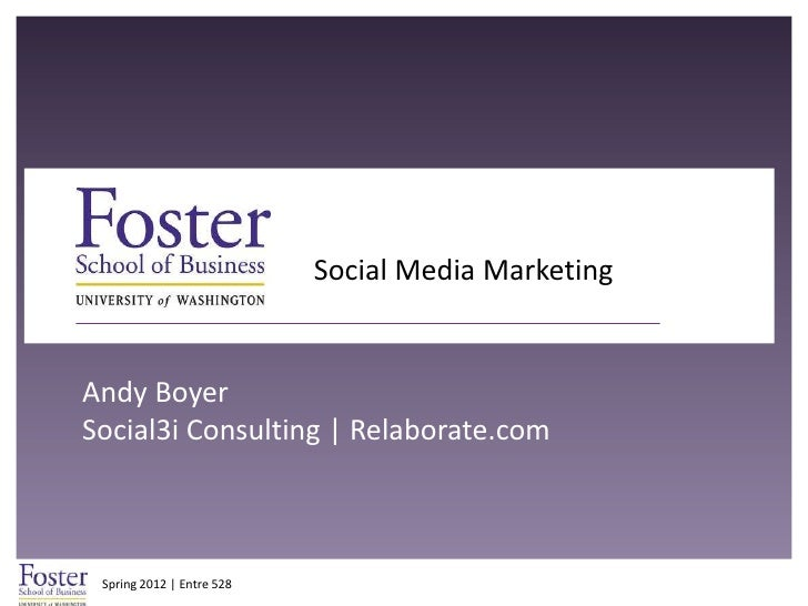 Social Media MarketingAndy BoyerSocial3i Consulting | Relaborate.com Spring 2012 | Entre 528