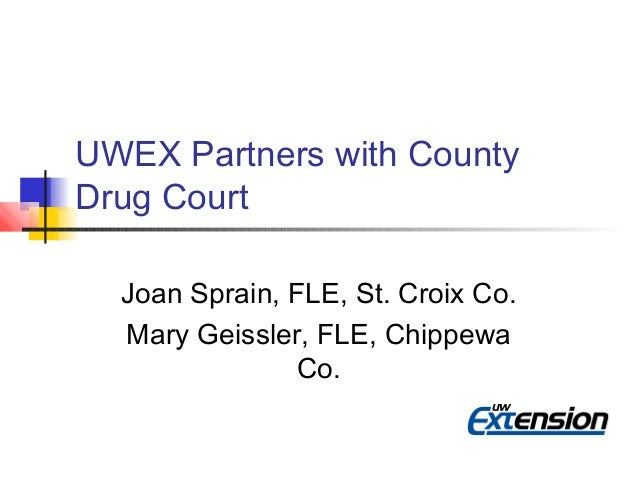 UWEX Partners with County Drug Court Joan Sprain, FLE, St. Croix Co. Mary Geissler, FLE, Chippewa Co.