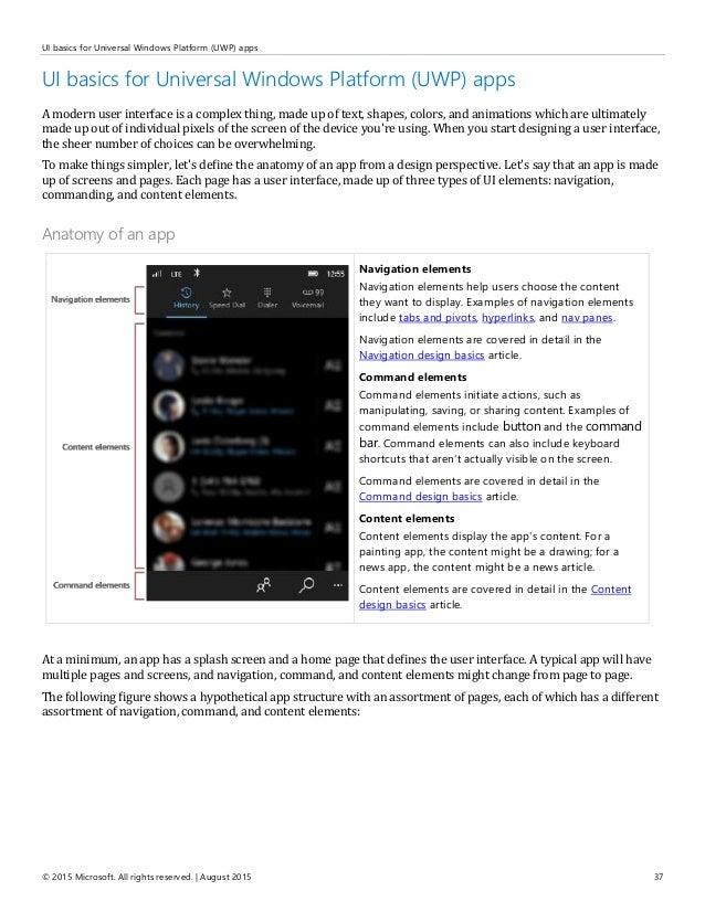 User Experience Guidelines For Universal Windows Platform Uwp Appsu