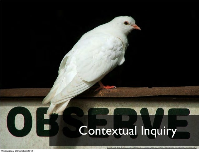 Contextual Inquiry                                  http://www.flickr.com/photos/springreen/72964726/sizes/l/in/photostream...