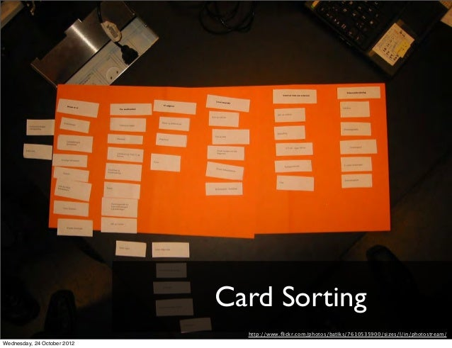 Card Sorting                               http://www.flickr.com/photos/batiks/7610535900/sizes/l/in/photostream/Wednesday,...
