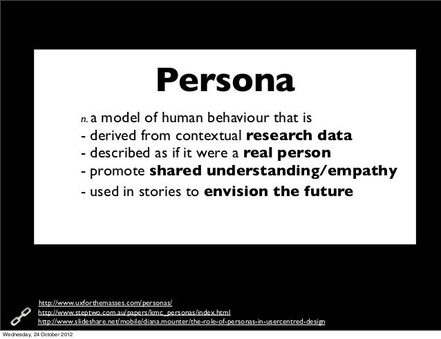 Persona                             n. amodel of human behaviour that is                             - derived from contex...