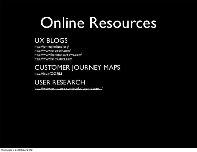 Online Resources                             UX BLOGS                             http://johnnyholland.org/               ...