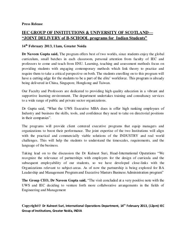 """Press ReleaseIEC GROUP OF INSTITUTIONS & UNIVERSITY OF SCOTLAND—""""JOINT DELIVERY of B-SCHOOL programs for Indian Students""""1..."""