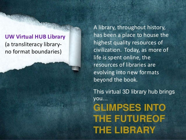 UW Virtual HUB Library (a transliteracy libraryno format boundaries)  A library, throughout history, has been a place to h...