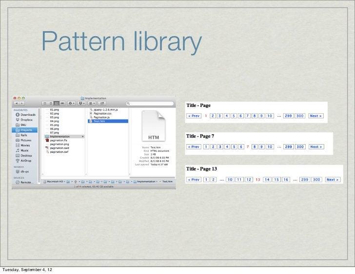 Pattern libraryTuesday, September 4, 12