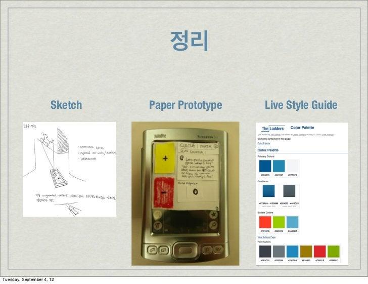 정리                      Sketch   Paper Prototype   Live Style GuideTuesday, September 4, 12
