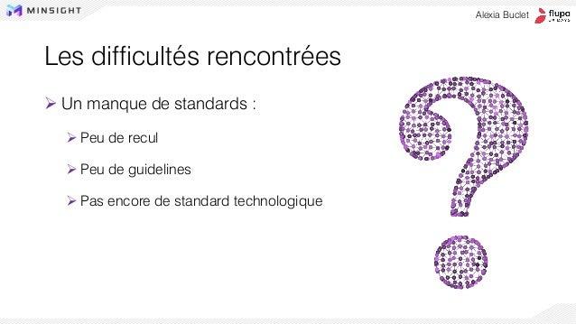 Les difficultés rencontrées ➢ Un manque de standards : ➢ Peu de recul ➢ Peu de guidelines ➢ Pas encore de standard technol...
