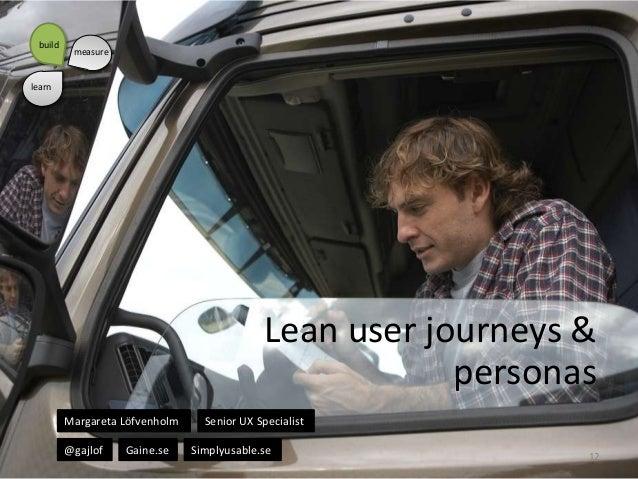 build  measure  learn  Lean user journeys & personas Margareta Löfvenholm @gajlof  Gaine.se  Senior UX Specialist Simplyus...