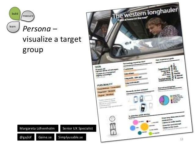 build  learn  measure  Persona – visualize a target group  Margareta Löfvenholm @gajlof  Gaine.se  Senior UX Specialist Si...