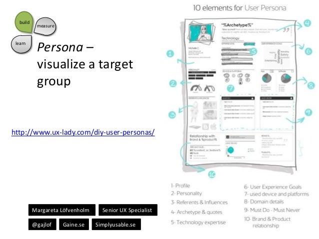 build  learn  measure  Persona – visualize a target group  http://www.ux-lady.com/diy-user-personas/  Margareta Löfvenholm...