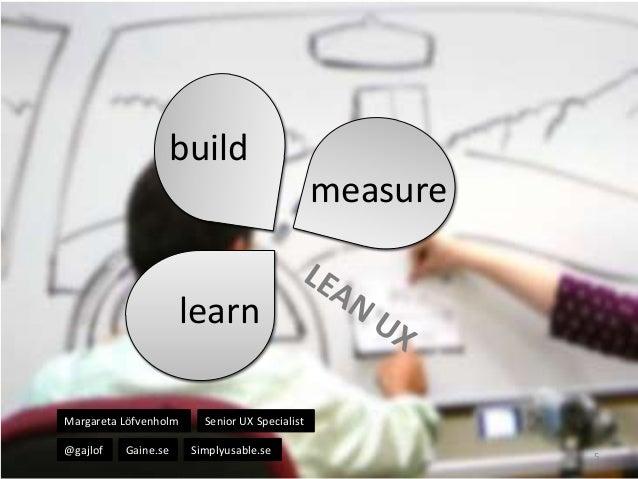 build measure  learn Margareta Löfvenholm @gajlof  Gaine.se  Senior UX Specialist Simplyusable.se  5