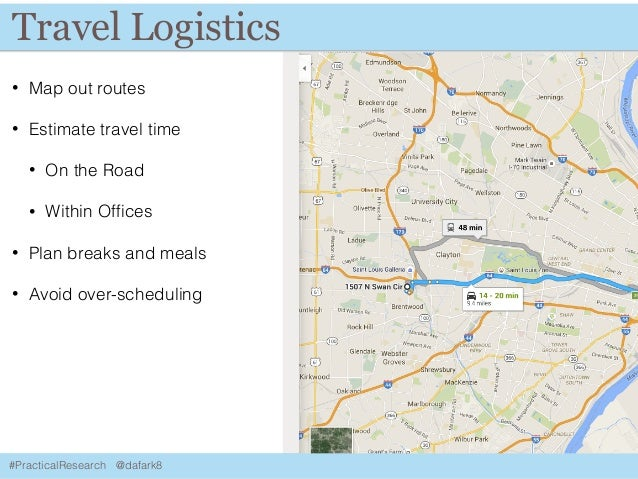 #PracticalResearch @dafark8 Travel Logistics • Map out routes • Estimate travel time • On the Road • Within Offices • Plan ...
