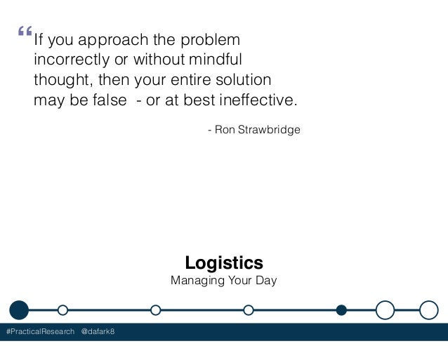 """#PracticalResearch @dafark8 Logistics Managing Your Day """"If you approach the problem incorrectly or without mindful though..."""
