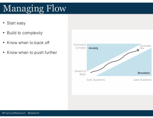 #PracticalResearch @dafark8 Managing Flow • Start easy • Build to complexity • Know when to back off • Know when to push f...