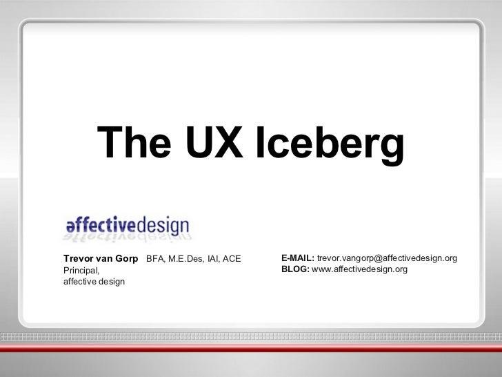 The UX Iceberg Trevor van Gorp  BFA, M.E.Des, IAI, ACE Principal, affective design E-MAIL:  trevor.vangorp@affectivedesign...