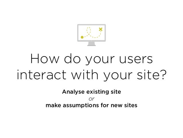 How do your users interact with your site? Analyse existing site or make assumptions for new sites