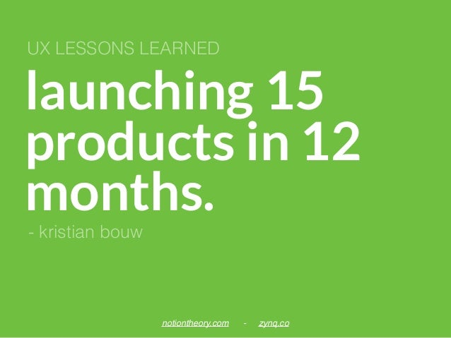 launching 15 products in 12 months. UX LESSONS LEARNED notiontheory.com - zynq.co - kristian bouw