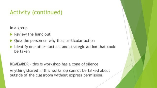 Activity (continued) In a group  Review the hand out  Quiz the person on why that particular action  Identify one other...