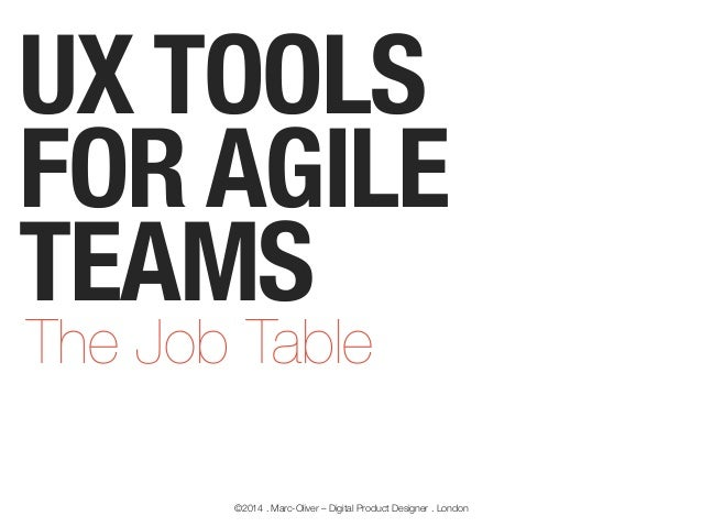 UX TOOLS FOR AGILE TEAMS The Job Table  ©2014 . Marc-Oliver – Digital Product Designer . London