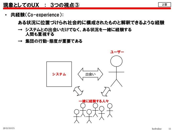 現象としてのUX : 3つの視点③                                         2章 ●    共経験(Co-experience):             ある状況に位置づけられ社会的に構成されたものと解...