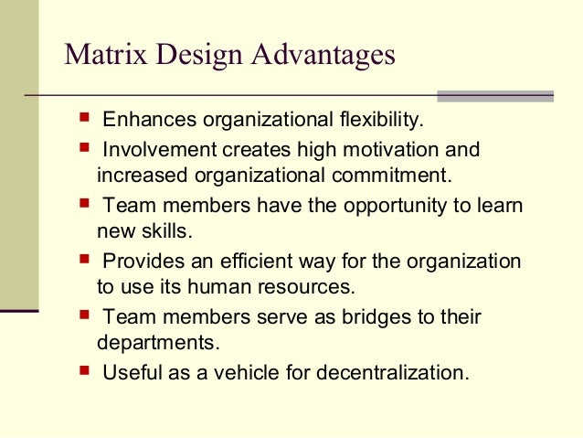 what are the advantages and disadvantages of the matrix form of structure essay A divisional structure is a common organizational form used in business matrix organizational structure: advantages, disadvantages & examples types of contemporary organizational designs: matrix.