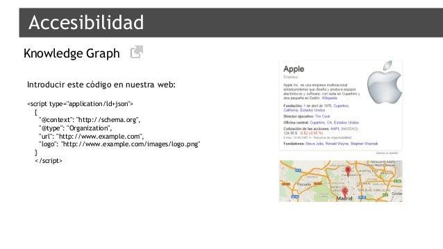 """Accesibilidad Knowledge Graph Introducir este código en nuestra web: <script type=""""application/ld+json""""> { """"@context"""": """"ht..."""