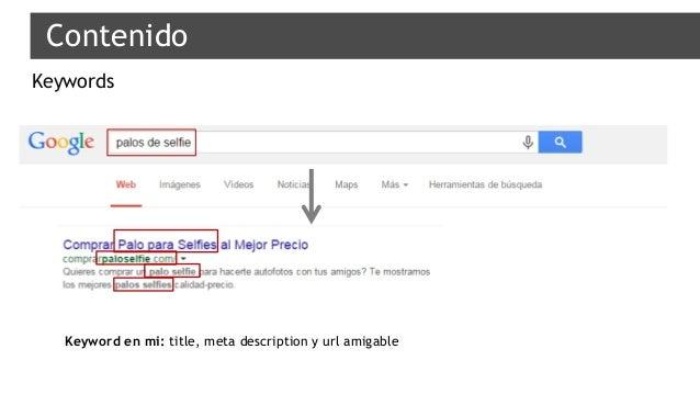 Contenido Keywords Keyword en mi: title, meta description y url amigable