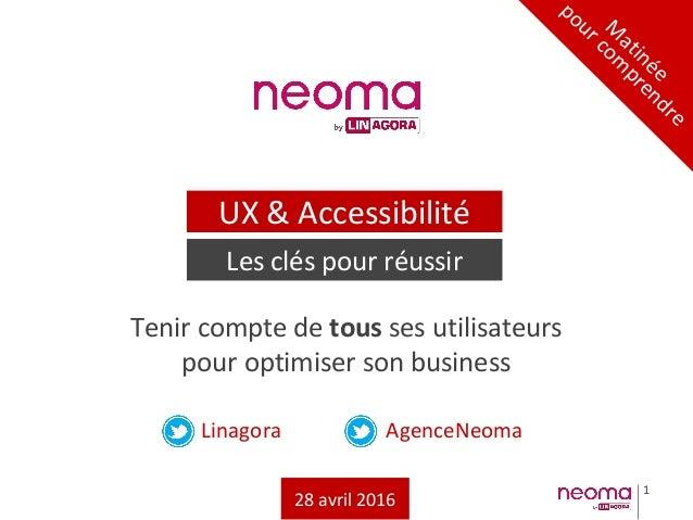 1 Linagora AgenceNeoma Tenir compte de tous ses utilisateurs pour optimiser son business M atinée pour com prendre UX & Ac...