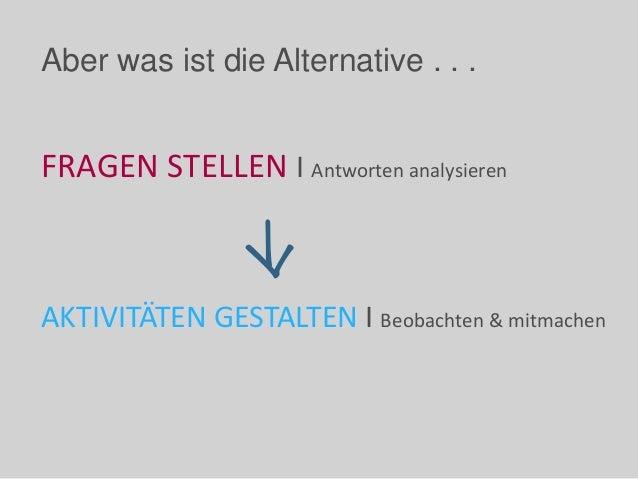 Aber was ist die Alternative . . . FRAGEN STELLEN I Antworten analysieren AKTIVITÄTEN GESTALTEN I Beobachten & mitmachen