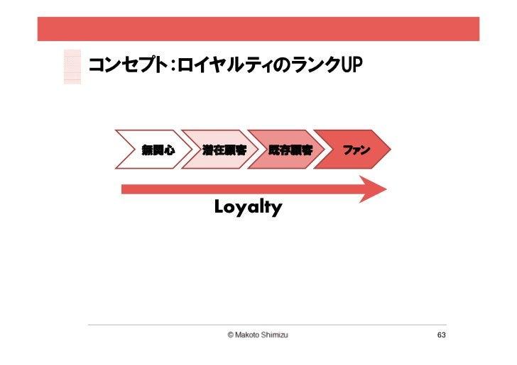 コンセプト:ロイヤルティのランクUP   無関心   潜在顧客   既存顧客   ファン          Loyalty                             63