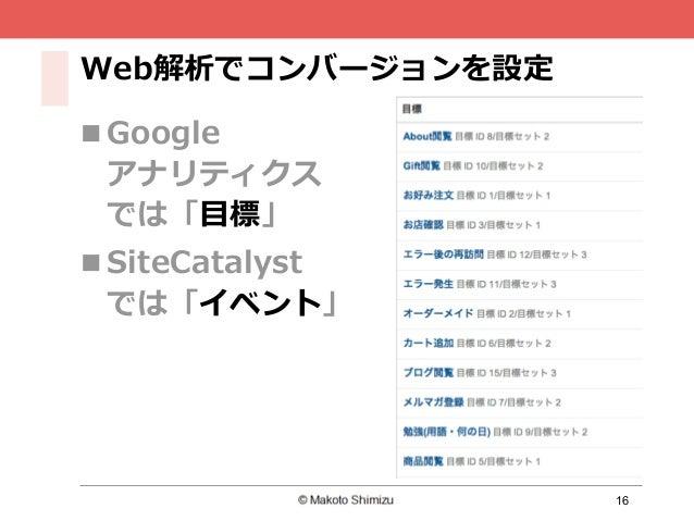 16 Web解析でコンバージョンを設定 n Google アナリティクス では「⽬標」 n SiteCatalyst では「イベント」