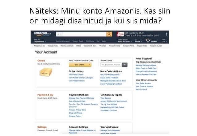 af5d4fee424 Näiteks: Minu konto Amazonis. Kas siin on midagi disainitud ja kui siis  mida?