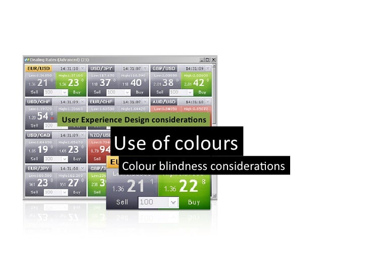 User Experience Design considera3ons                  Use of colours                     Colour blindness...