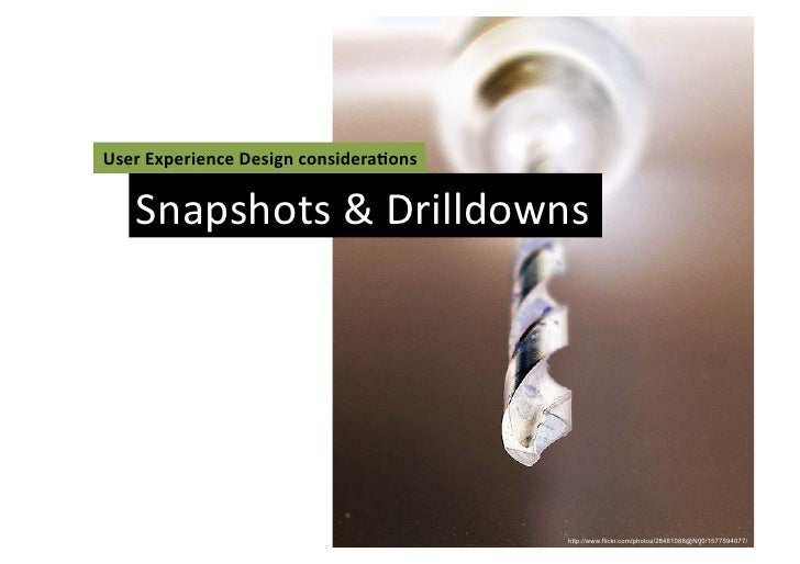 User	  Experience	  Design	  considera3ons	       Snapshots	  &	  Drilldowns	                                             ...