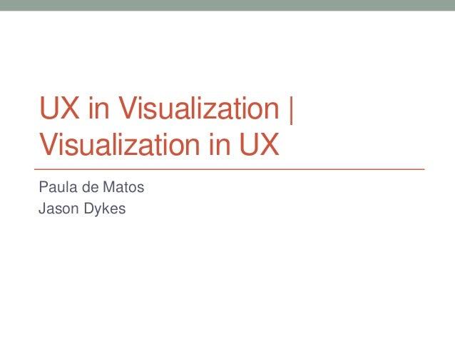 UX in Visualization    Visualization in UX  Paula de Matos  Jason Dykes