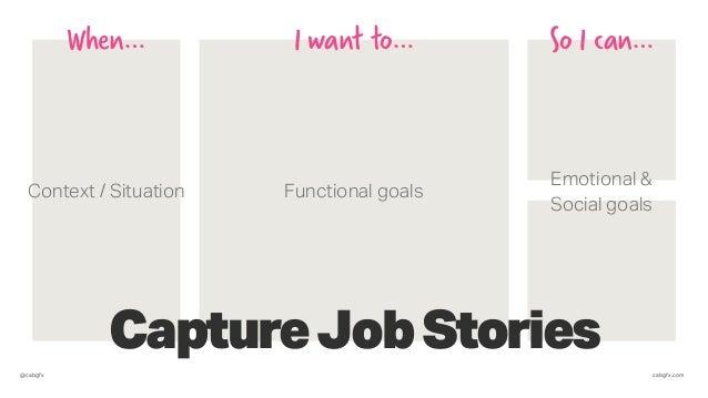 @cabgfx cabgfx.com CaptureJobStories When… I want to… So I can… Functional goals Emotional & Social goals Context / Situat...