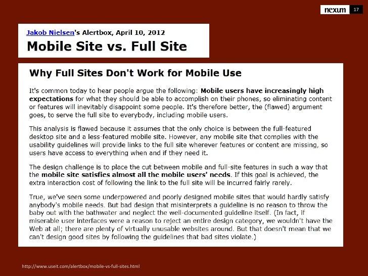 17http://www.useit.com/alertbox/mobile-vs-full-sites.html