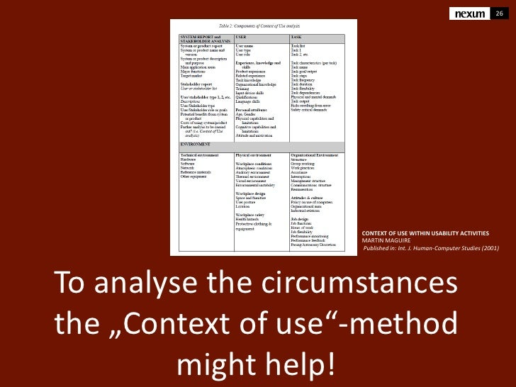 26                     CONTEXT OF USE WITHIN USABILITY ACTIVITIES                     MARTIN MAGUIRE                     P...