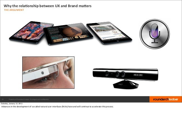 Why the relaBonship between UX and Brand maPers     THE ARGUMENT10         Property of Roundarch Iso...