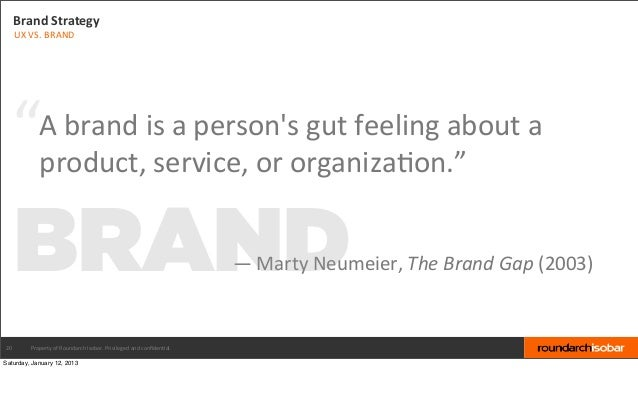 """Brand Strategy     UX VS. BRAND  """"          A brand is a persons gut feeling about a              ..."""