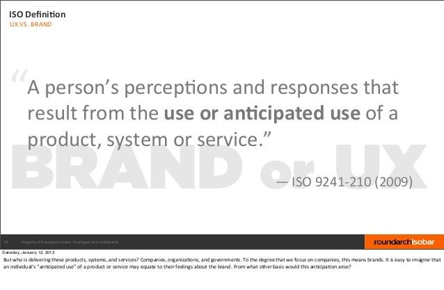 """ISO DefiniBon     UX VS. BRAND  """"            A person's percep&ons and responses that                resu..."""
