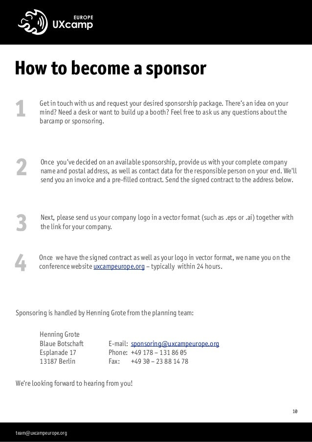 """How to become a sponsor """"10 1 Get in touch with us and request your desired sponsorship package. There's an idea on your m..."""