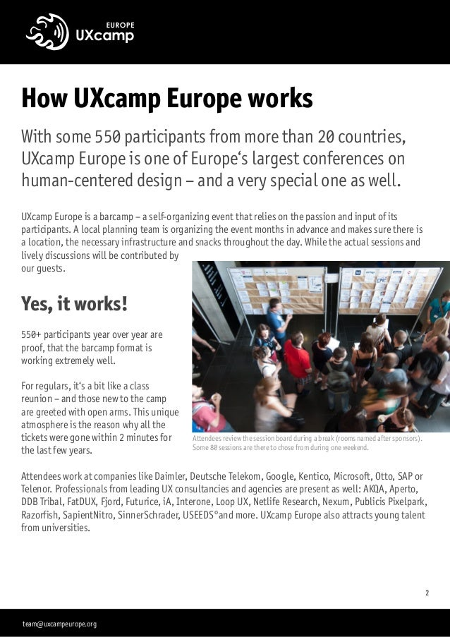 How UXcamp Europe works With some 550 participants from more than 20 countries, UXcamp Europe is one of Europe's largest c...