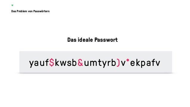 Das Problem von Passwörtern Das ideale Passwort y4uf$kwsb&u9t3rb)v*ekpafv